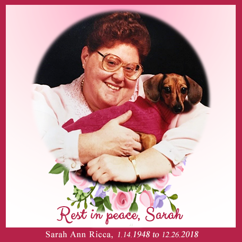 Sarah Ricca, Blogger And Friend, Rest In Peace